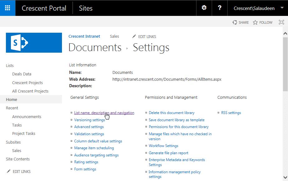 rename sharepoint list name