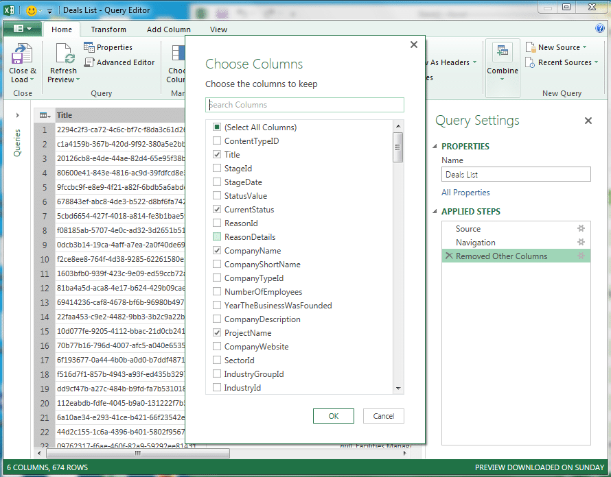 excel power query SharePoint list