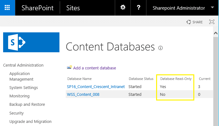sharepoint content database read only