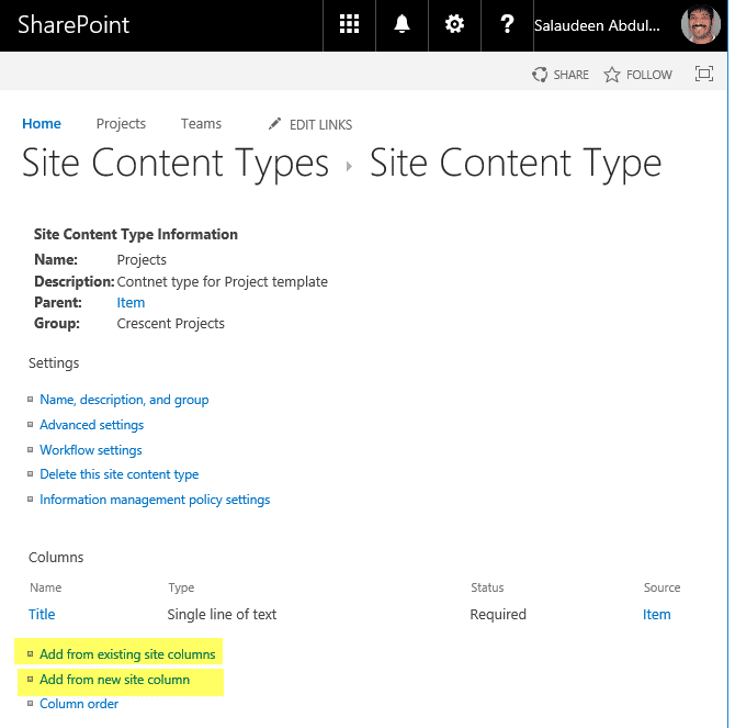 sharepoint add column to content type powershell