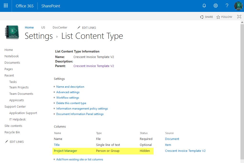 sharepoint online hidden field in content type