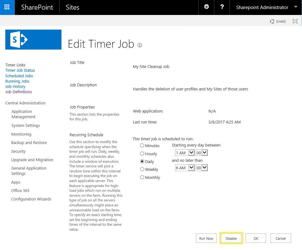 disable sharepoint timer job powershell
