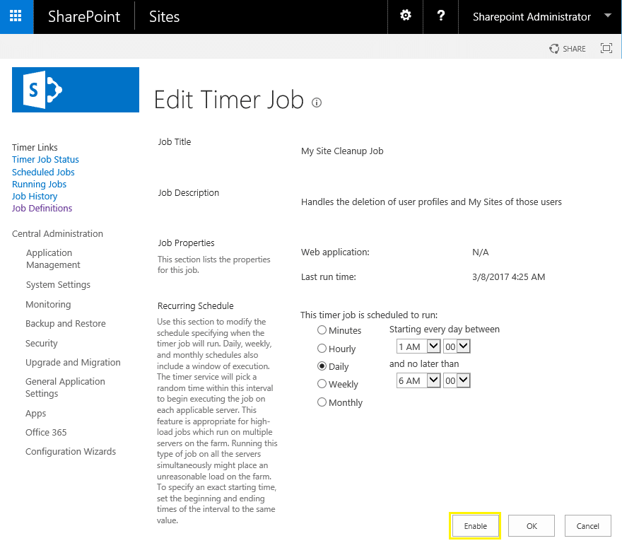 enable timer job using powershell in sharepoint