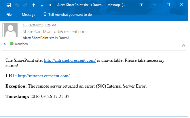 Monitor SharePoint Sites availability and Sent Alert Email when things go wrong using PowerShell