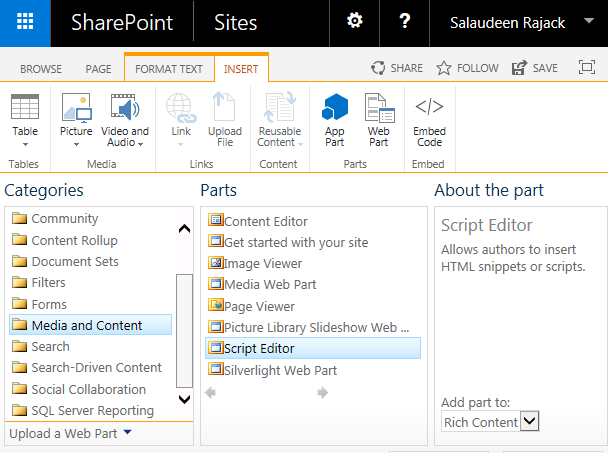 sharepoint web part reload page