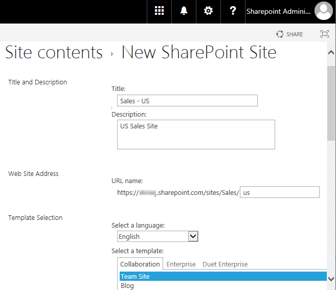 how to create subsite in sharepoint online