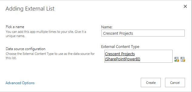 Create External List in SharePoint 2016