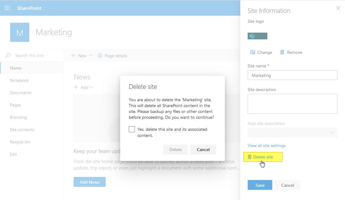 delete site in shaerpoint online
