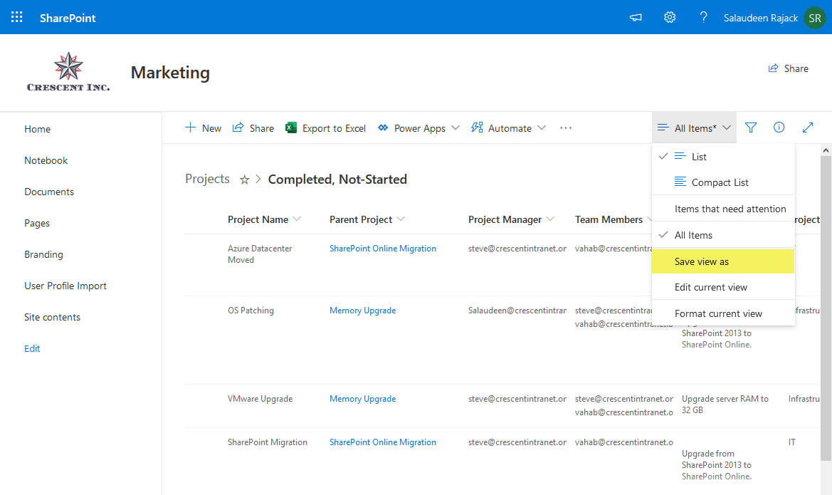 how to create a view in sharepoint online