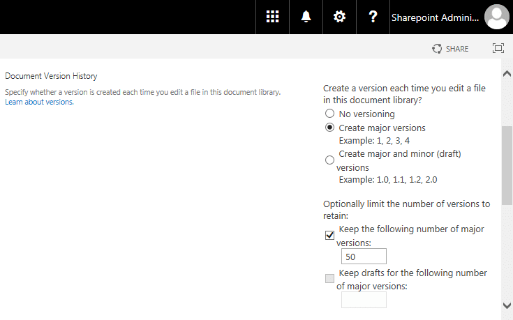 sharepoint online enable version history
