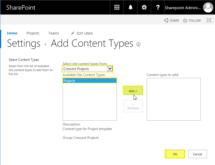 sharepoint online add content type to list
