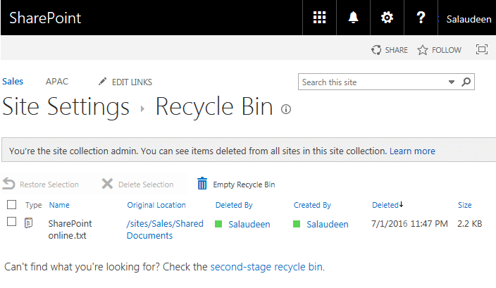 sharepoint online recycle bin powershell