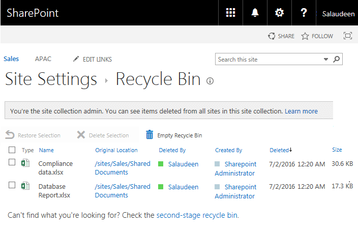 sharepoint recycle bin search