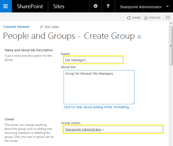 How to Add New User Group in SharePoint 2013
