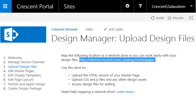design manager in sharepoint 2013 step by step