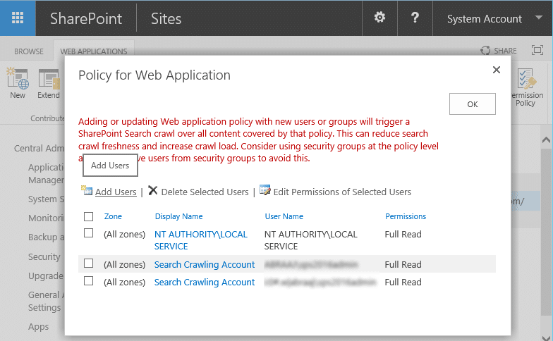 web application user policy sharepoint 2016