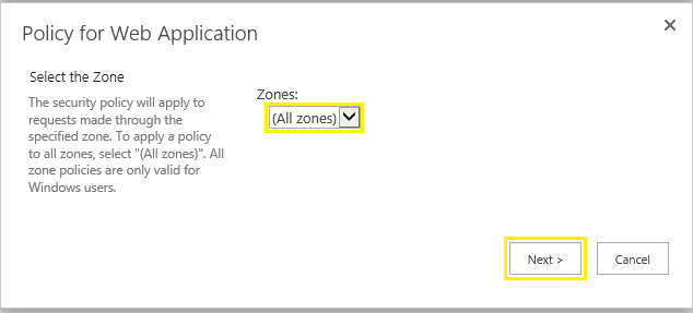 sharepoint central administration policy for web application