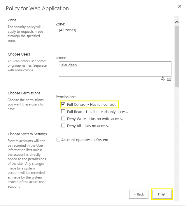 Add user to web application user policy sharepoint 2016