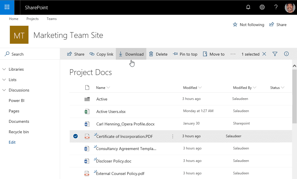powershell download file from sharepoint online