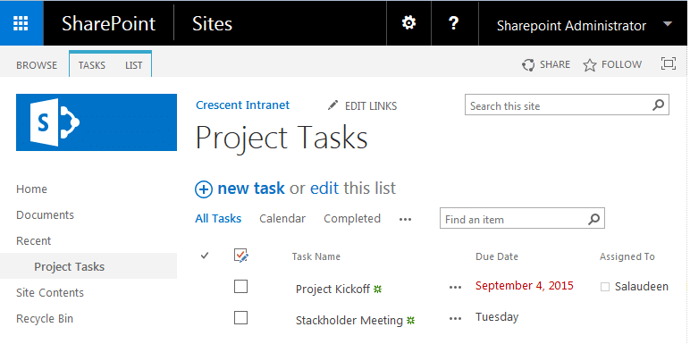 sharepoint 2013 task list hide timeline