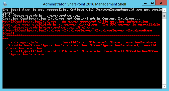 sharepoint 2016 the RPC server in unavailable