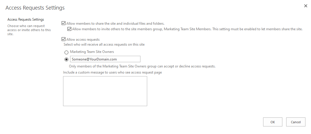 sharepoint online access requests settings