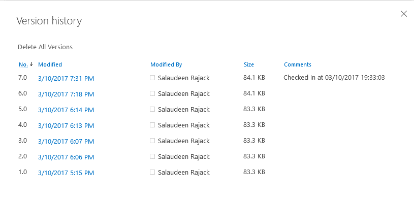 sharepoint online check in powershell