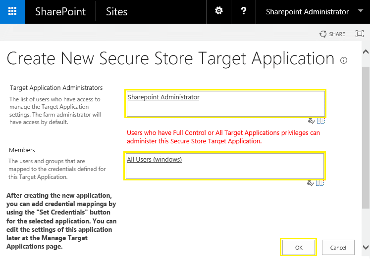 sharepoint 2013 secure store target application type
