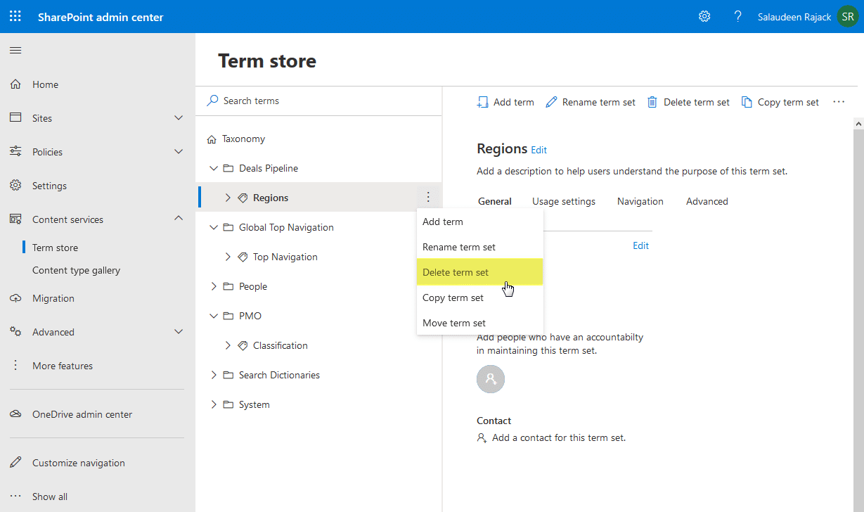 how to Delete Term Set in SharePoint Online