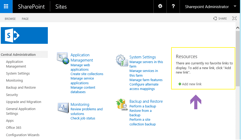 resource link list in sharepoint central admin