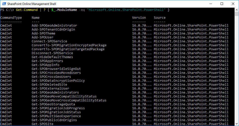 sharepoint online powershell cmdlet
