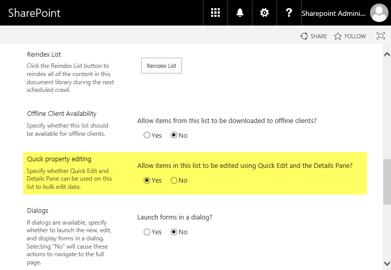 sharepoint 2013 disable quick edit powershell