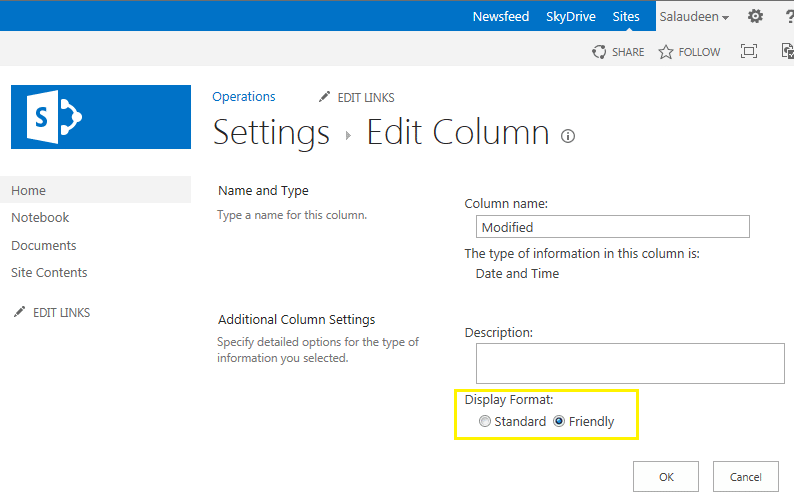 sharepoint 2016 change friendly date format