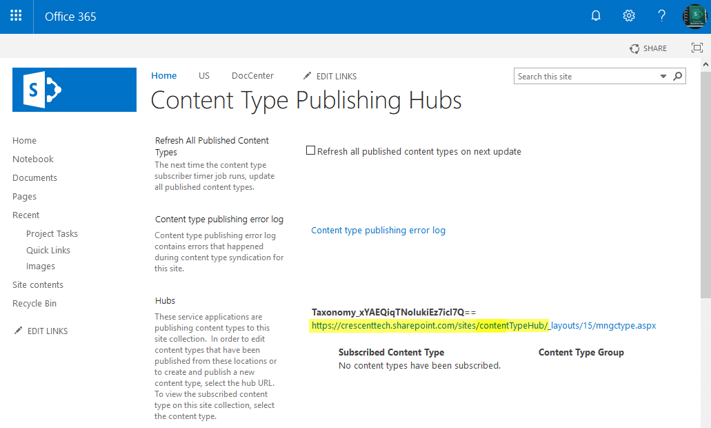 content type hub url in sharepoint online