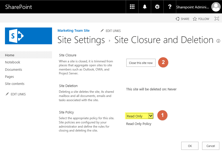 sharepoint online make site collection read only