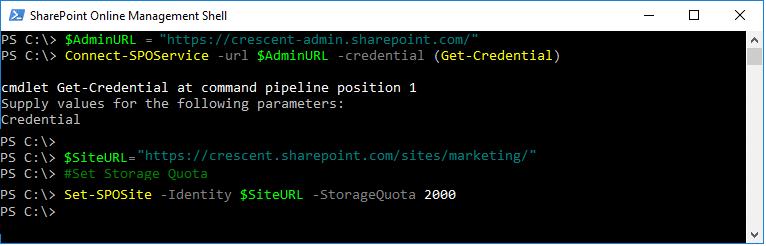 sharepoint online increase storage quota powershell