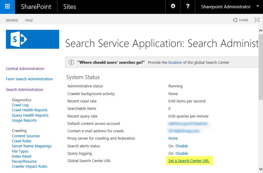 sharepoint 2013 default search center