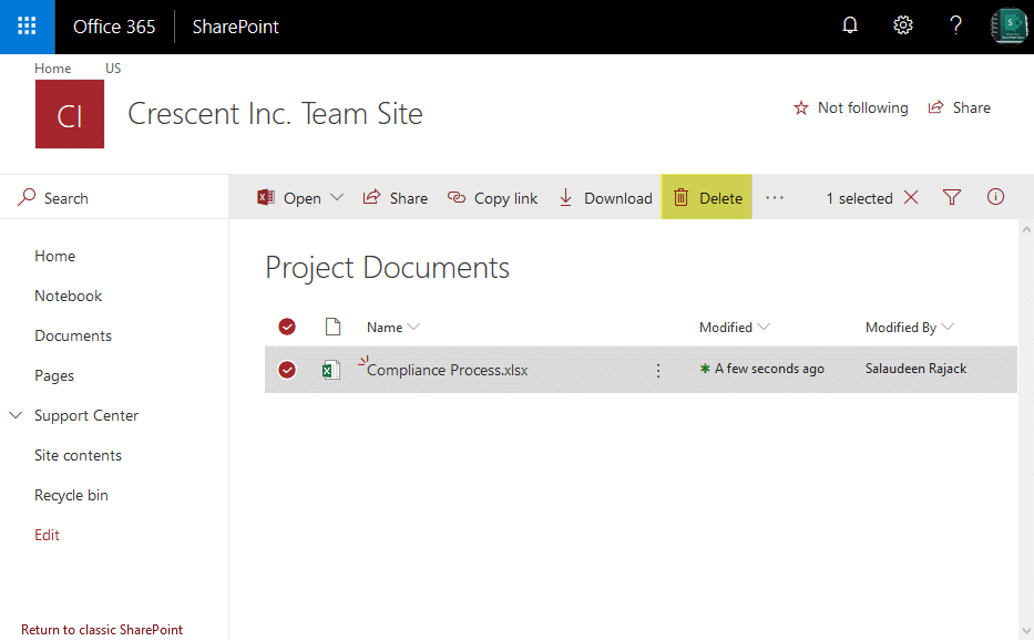 sharepoint online delete file powershell
