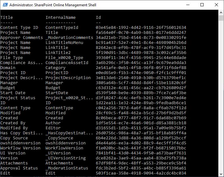 sharepoint online powershell get list fields
