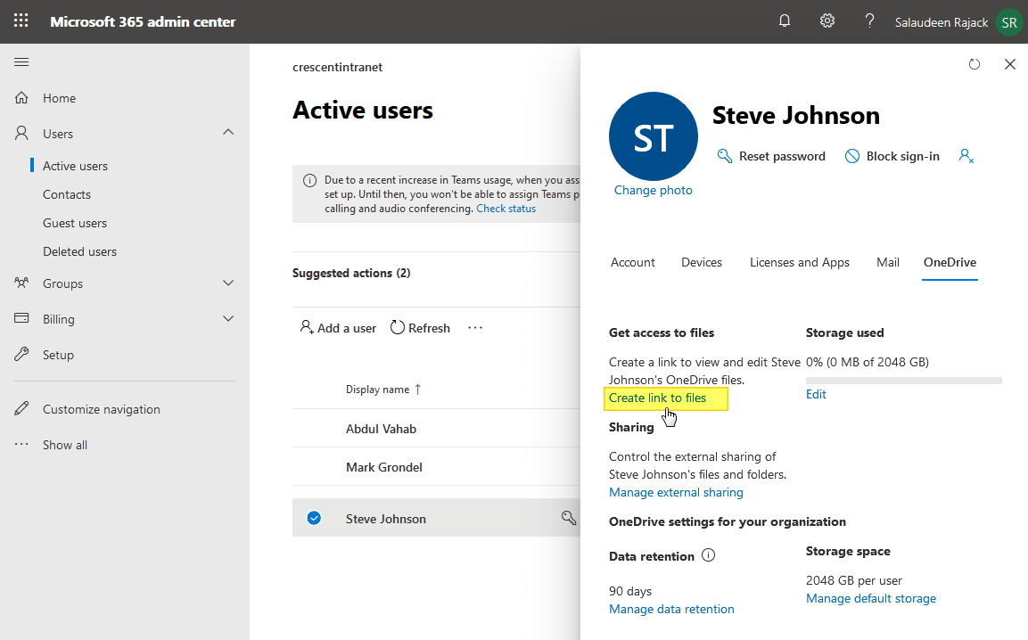 access another users onedrive site