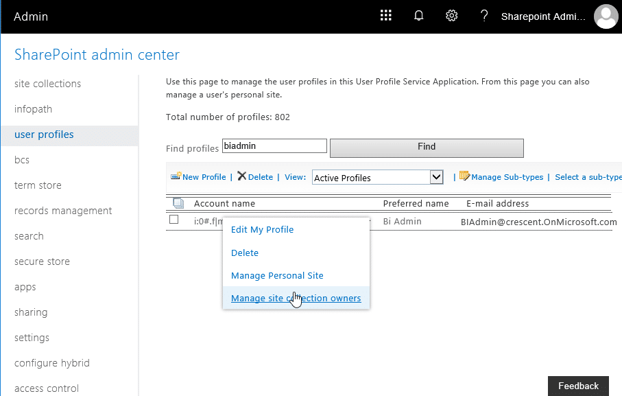 Add administrator to onedrive for business in office 365