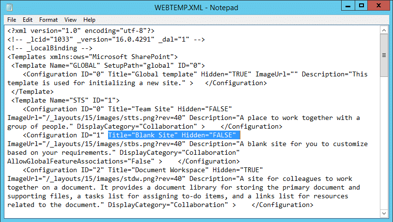 enable blank site template sharepoint 2016