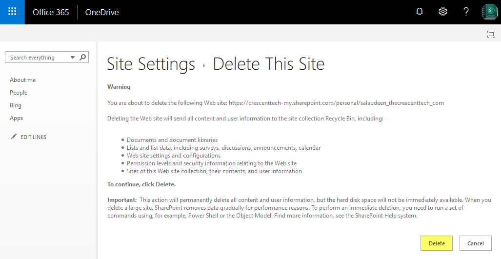 sharepoint online delete onedrive