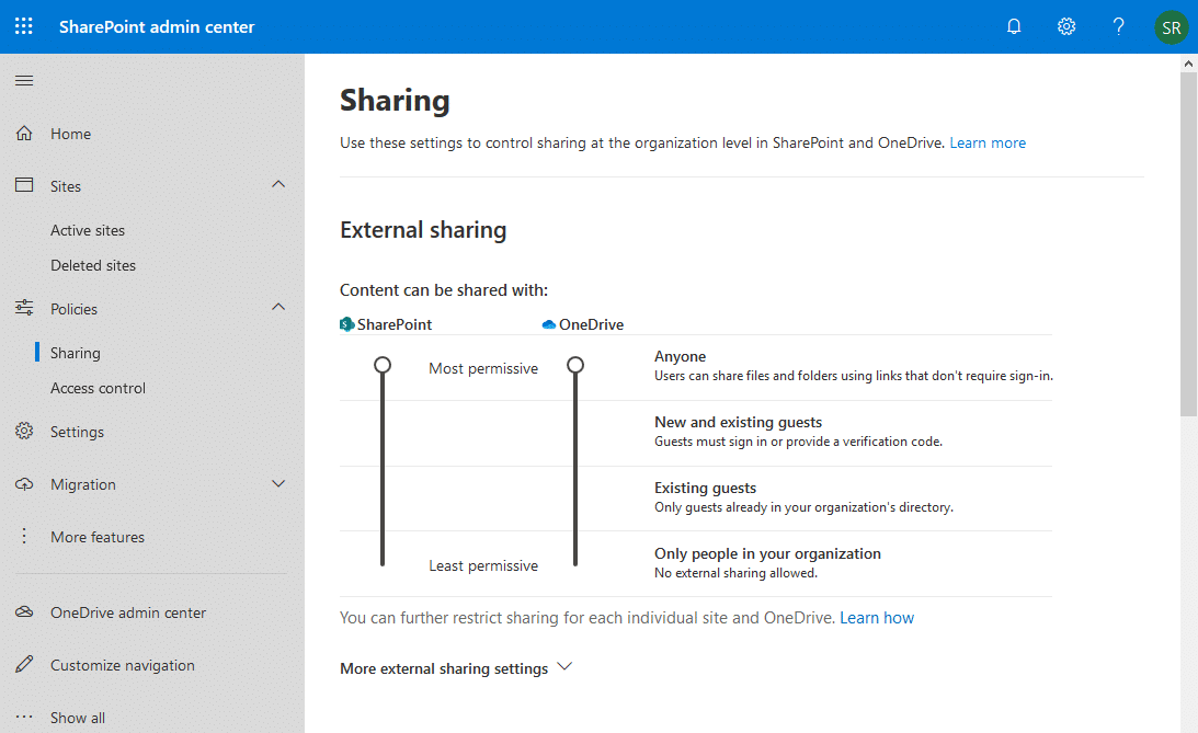 turn on external sharing in sharepoint online