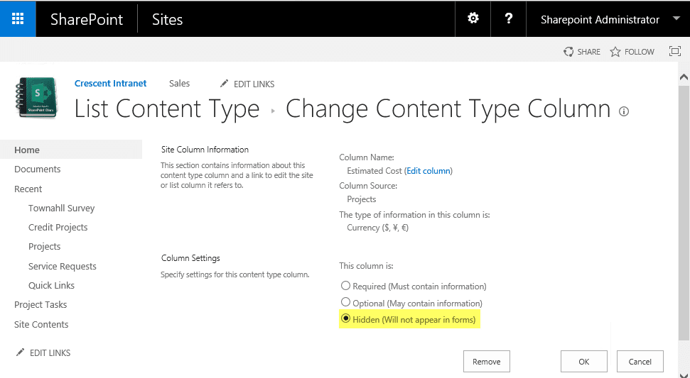 sharepoint hide field in content type