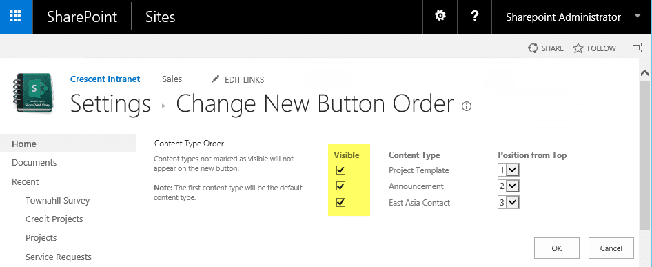sharepoint online hide content type dropdown
