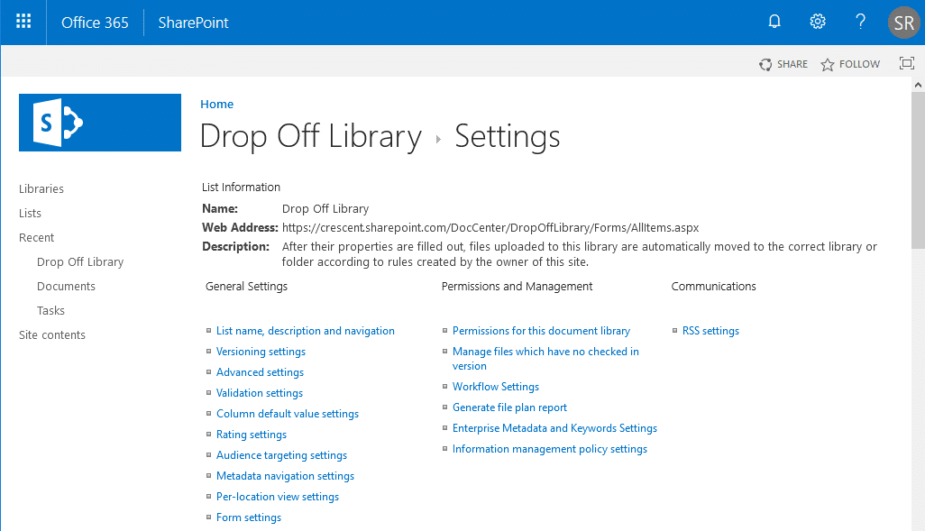 delete drop off library in sharepoint online