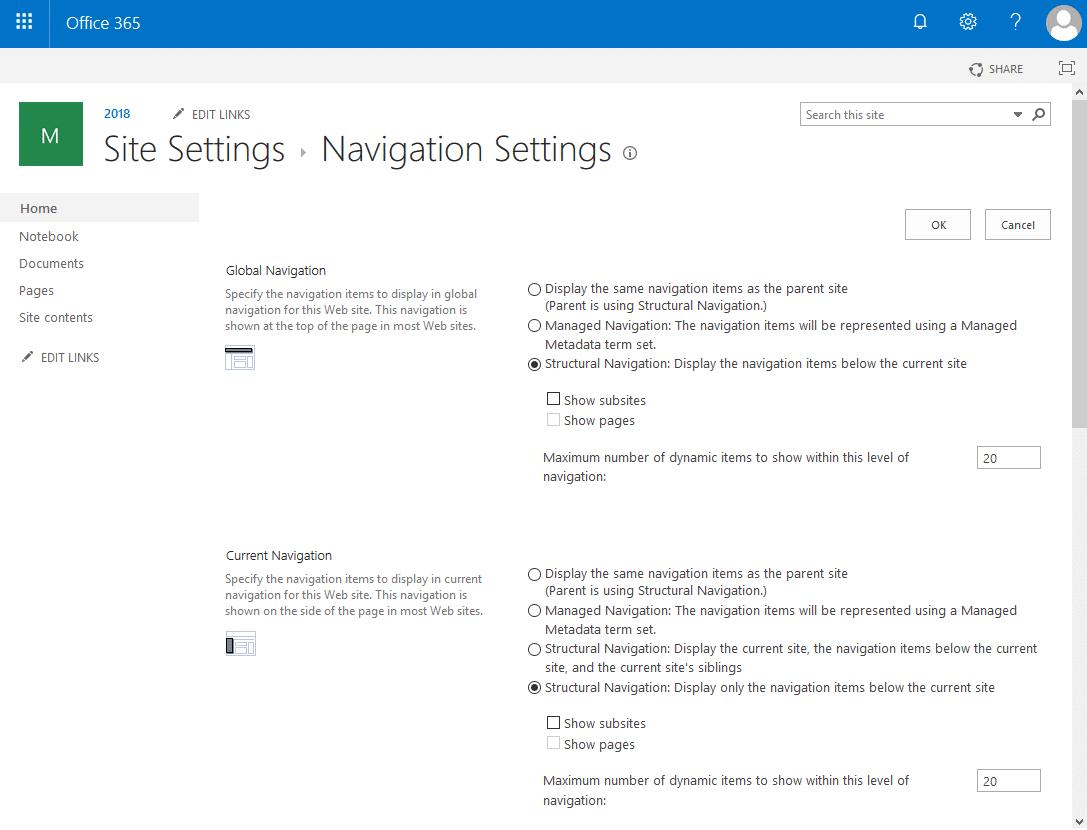 sharepoint online set navigation powershell