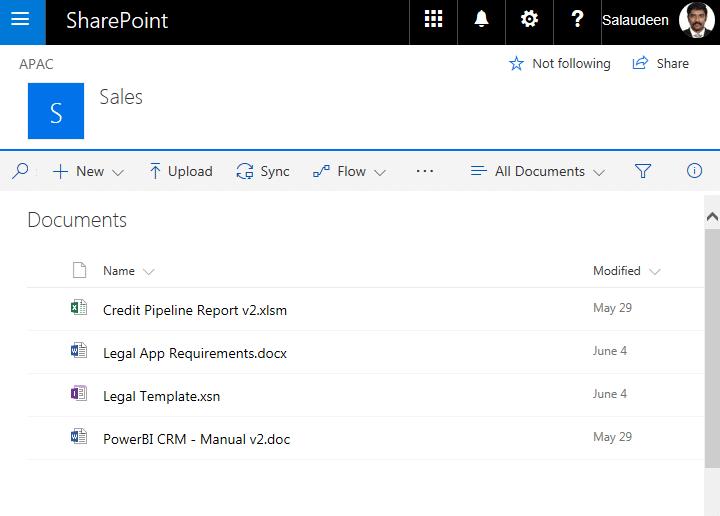 sharepoint online modern ui document library
