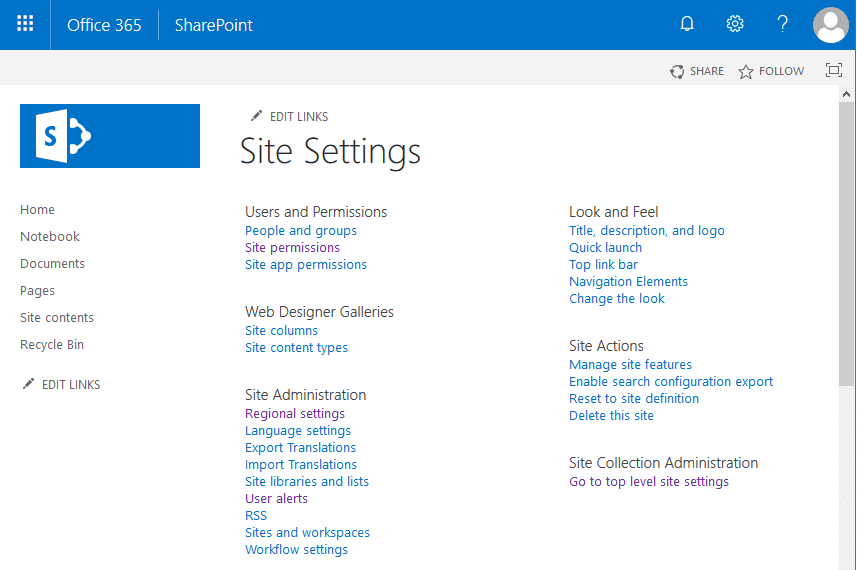 sharepoint online save site as template missing